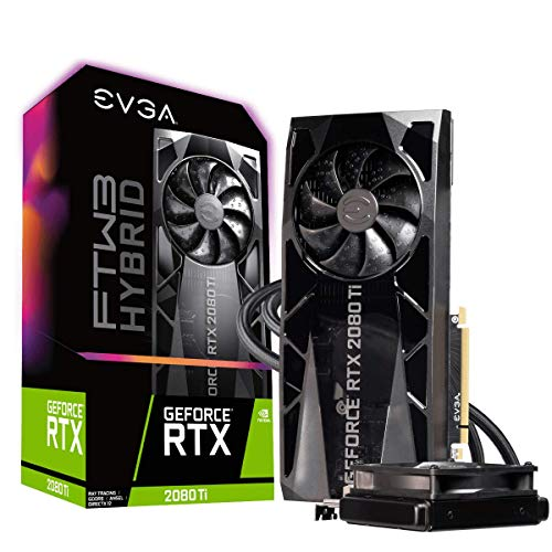 EVGA GeForce RTX 2080 Ti FTW3 ULTRA HYBRID GAMING, 11GB GDDR6, RGB LED Logo, ICX2 Technology, Metal backplate, Graphics Card 11G-P4-2484-KR