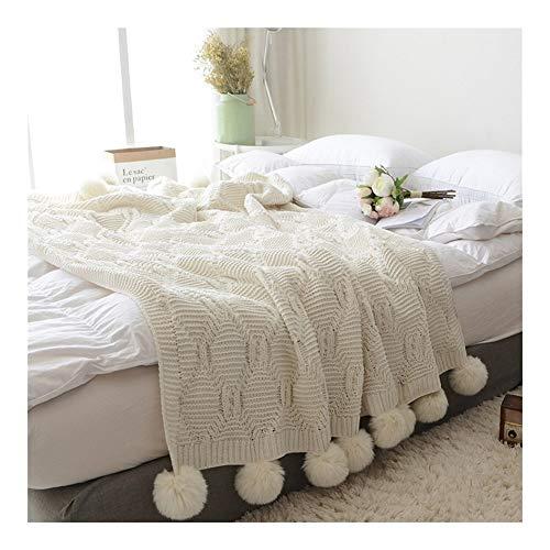LYQZ Weich 51' x 59' Strick Fringe Decke mit weißen Bommeln, Perfekt for Bett, Sofa, Couch