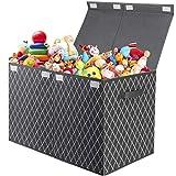 Spielzeugkiste Aufbewahrungsbox Kinder Spielzeug Aufbewahrung,Faltbarer Spielzeugtruhe Kiste mit Deckel für Spielzeug,Kleidung,Bücher,Kleiderschrank,Kinderzimmer(Grau)