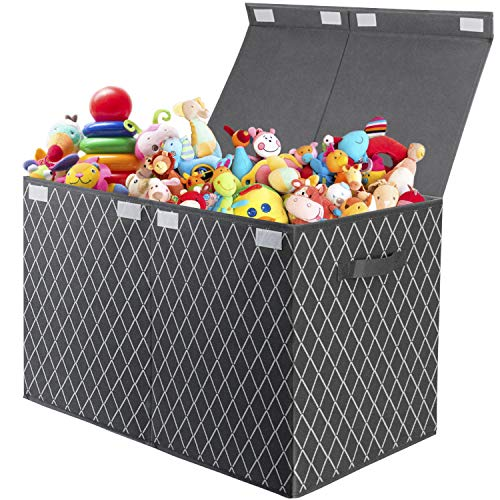 Kids Toy Box Storage Chest, Large Foldable Fabric Toy Storage Boxes Organzier with lid and 2 handles for Toys,Books,Blankets,Clothes, 62 x 33 x 40 cm (Grey)