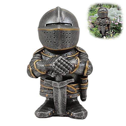Guardia de los gnomos caballeros, Figura cruzada de cruzado templario, Estatua de traje de caballero cruzado medieval Estatuilla de templario cruzado renacentista, No se decolora, Anti-ultravioleta, I
