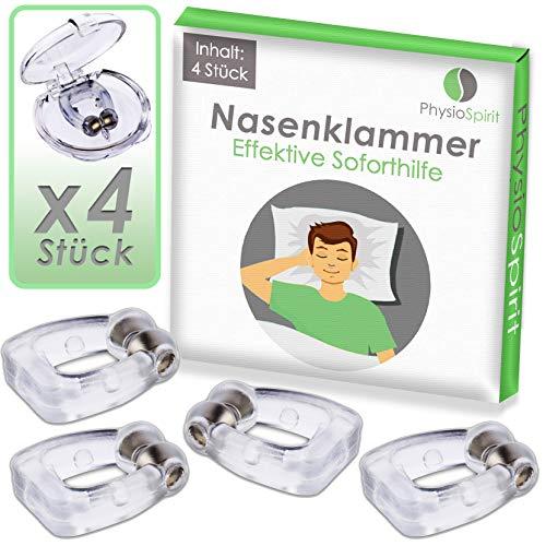 PhysioSpirit 92361 - Schnarchstopper 4er Set - Anti Schnarch Nasenklammer gegen kompensiertes Schnarchen* - Nasenspreizer aus weichem Silikon für ruhige Nächte (4 Stück)