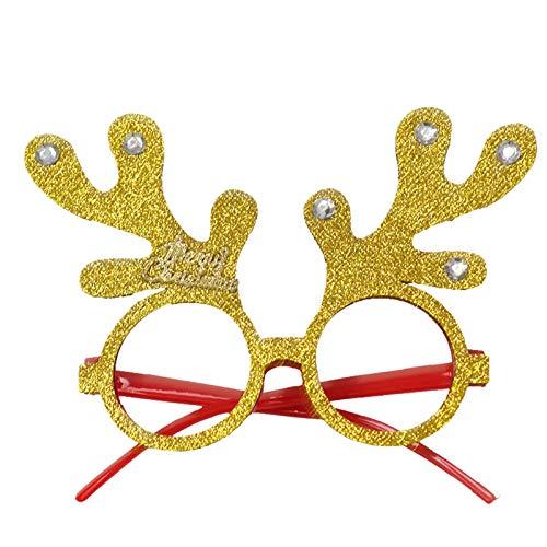 HWTOP Weihnachtsbrille Rahmen Cartoon Stereo Brillengestelle Erwachsene und Kinder Dekoration Urlaub Verkleiden, Runder Rahmen Gold mit Diamanten
