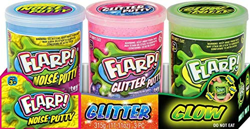 Flarp 3 Pack Tray Variety Pack Noise Putty (3 Assorted Styles and Colors ) Glow in The Dark, Shine...