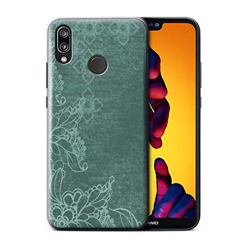 Stuff4® Hülle/Hülle für Huawei P20 Lite/Blumen/Paisley-Muster Muster/Grün Mode Kollektion