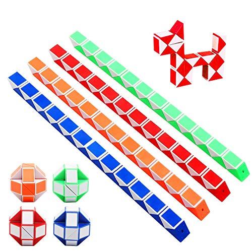 Reastar Würfel Spielzeug 12 Stücke 24 Blöcke Magische Geschwindigkeit Würfel Schlange Würfel Magische Schlangen Würfel 3D IQ Spielzeug - für Kinder und Erwachsene (Zufällige Farbe)