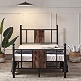 Hilero Twin Bed Frame with headboard and Footboard, Metal Bed Frame Twin Size, Heavy Duty Platform Mattress Base Support No Box Spring Needed, Black