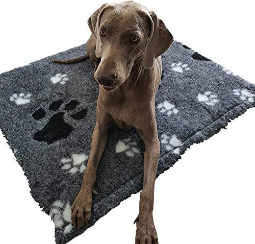 w-mtools Drybed Vetbed Hundedecke A+ 2450gr/m² Hund Katze Veterinary Bedding Grau - weißer Rücken Anti Slip Extra weich waschbar bei 60°C (100 x 70, Grau) Haustier Matten