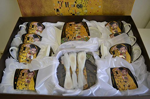 Atelier Harmony Gustav Klimt Tee- Kaffeeservice 21teilig schwarz Porzellan Motiv Der Kuss