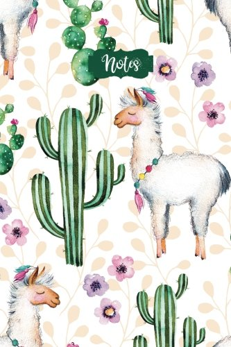 Notes: 120 Blank Lined Page Softcover Notes Journal, College Ruled Composition Notebook, 6x9 Blank Line Watercolor Llama Cactus Flower Design Cover Note Book