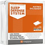 HOSPITOLOGY PRODUCTS Sleep Defense System - Zippered Mattress Encasement - Queen - Hypoallergenic - Waterproof - Bed Bug & Dust Mite Proof - Stretchable - Ultra Low Profile 6' Depth - 60' W x 80' L