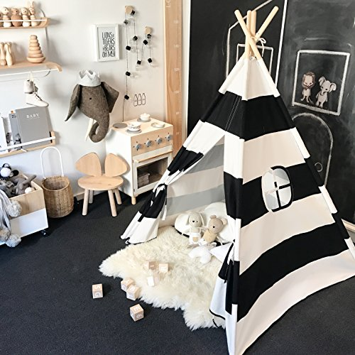 Kids Teepee Tent for Boys, Black and White Stripe Children Play Tent with Canvas Carry Case for Indoor & Garden