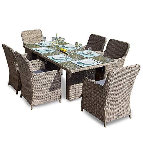 Green Spirit Hochwertige Tischgruppe 13-TLG. in Braun Polyrattan Garten Möbel Poly Rattan...