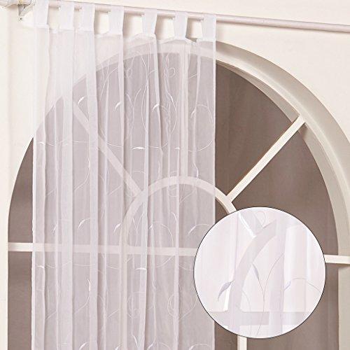 Yujiao Mao 1er-Pack Stickerei Gardine in Blätter Muster mit Schlaufen Vorhänge BxH 140x145cm Weiß