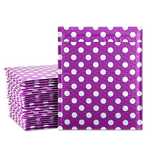 UCGOU 8.5x12 Inch Purple Dot Padded Envelopes Water Proof Poly Bubble Mailers Self Seal Mailing Envelopes Pack of 25
