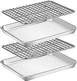 Umiten Juego de bandeja y bandeja para hornear [2 hojas + 2 estantes], bandeja de acero inoxidable con estante de refrigeración, no tóxica, resistente y fácil de limpiar (18inch)