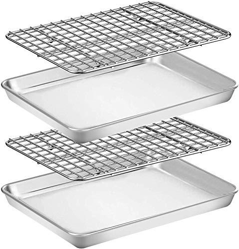 Umiten Juego de bandeja y bandeja para hornear [2 hojas + 2 estantes], bandeja de acero inoxidable con estante de refrigeración, no tóxica, resistente y fácil de limpiar (45,7 x 33 x 2,5 cm)