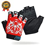 Kids Cycling Gloves for Boys Girls, Fingerless Gloves for Men/Women, Bike Gloves Non-Slip Half Finger and Breathable, Outdoor Sports Gloves for Cycling Motorcycle Climbing Fitness and More(Adult Red)