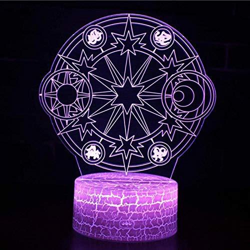 BFMBCHDJ Magic Array 3D Bunte Nachttischlampe Party Atmosphäre Nachttischlampe Wohnzimmer Nachtlicht A4 Weiß Riss Basis + Fernbedienung