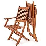 Deuba Sitzgruppe Sydney 4+1 Akazienholz 5-TLG Tisch klappbar Sitzgarnitur Holz Garten Möbel Set - 6