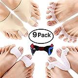 Bunion Corrector, FOONEE 9 Pack Highly Elastic Toe Separators, Bunion Splint Sleeves Kit