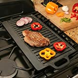 Wido Cast Iron Reversible Flat Griddle Pan Non Stick BBQ Grill Plate Indoor