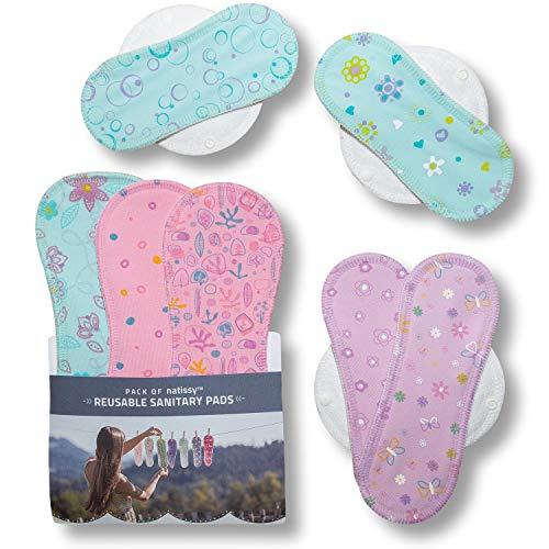 Compresas de tela reutilizables, pack de 7 compresas ecologicas de algodón puro con alas; HECHAS EN LA UE, para menstruación, postparto, incontinencia; compresas lavables organico para mujer