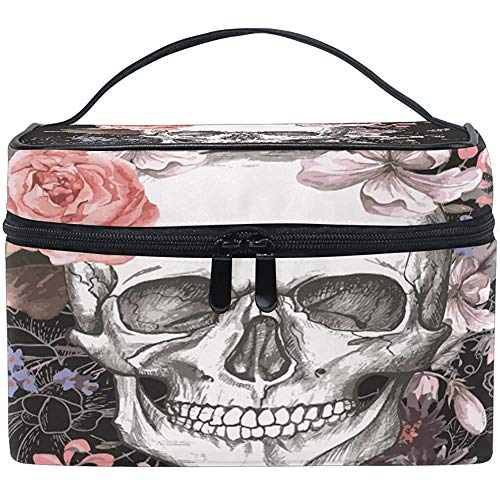 Trousse de Maquillage Rose Skull Travel Cosmetic Bags Organizer Train Case Toiletry Make Up Pouch-D4R-61