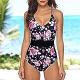 GPQHSM Bikini Una Mujer Piezas de baño Top Rizado con Talle Alto Fondo de Bikini Set de baño Traje de baño sólido Playa del Verano del Desgaste Купальник (Color : Blue, Size : L)