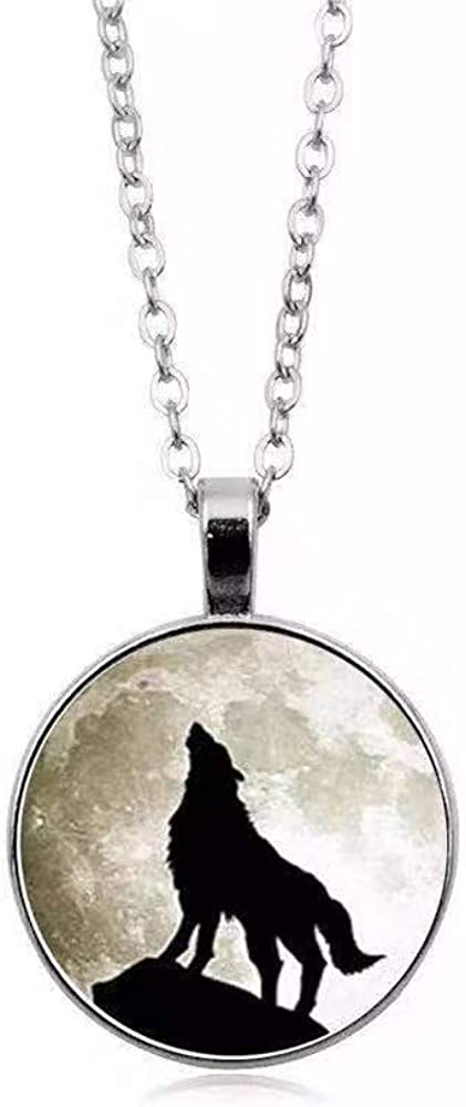 bestchoice000 Wolf Head Jewelry,Unisex Wolf Necklace Cabochon Long Chain with Rose Wolf Chain Pendant
