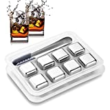 Koochuwah Reusable Stainless Steel Ice Cubes, Metal Whiskey Stones, Whiskey Chilling Stones with Tongs & Ice Tray for Wine Beer, Whiskey Stones Gift for Men Father (8 Pack)