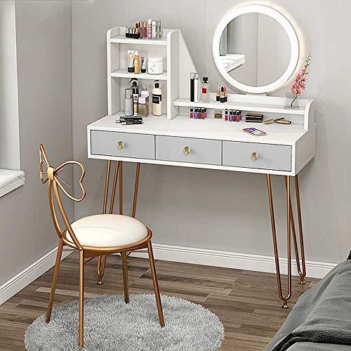 MYAOU Schminktisch mit Spiegel und Stuhl Schlafzimmer Schminktische mit 3 Kosmetikschubladen Metallbeine Mädchen Schminktisch mit Schmuck Aufbewahrung LED Lichter Spiegel