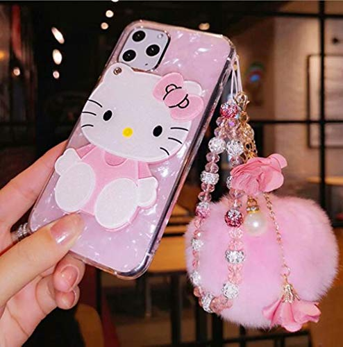 DVR 4000 Compatible with iPhone 12 Pro Max Case 3D Cute Cartoon Cat Bow Mirror Design Conch Cover Case Clear with Fluffy Hair Ball Bling Glitter Crystal Lanyard for iPhone 12 Pro Max 6.7 inch