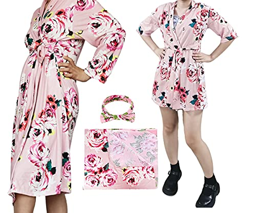 Matching Maternity Robe with Swaddle Blanket Set for Mom and Baby Moms Gift (A01-Robe+Robe, XL)