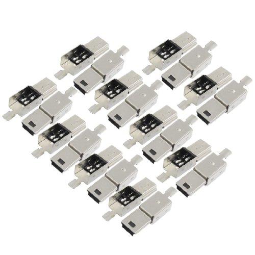 Sourcingmap® 20 x Mini USB 5 Pin Typ B Stecker Ersatz Anschluss Loet-Buchse Silbrig Schwarz de