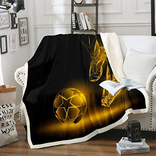 Loussiesd - Manta de sherpa de fútbol, diseño de pelota de fútbol dorada, para sofá, cama, decoración de la habitación, regalo ligero para jugador, manta de felpa para bebé, 30 x 40 pulgadas