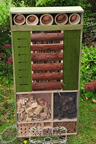 BTV Batovi Insektenhotel, XXL, Front GRÜN,wetterfest IN MOOSGRÜN LASIERT,groß, Premium Insektenhotel WETTERFEST