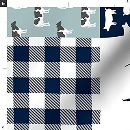 Upholstery Home Decor Bottomweight Spoonflower Fabric Farm Plaid Wholecloth Cheater Quilt Top Patchwork Navy Dusty Blue Printed on Basketweave Cotton Canvas Fabric by The Yard