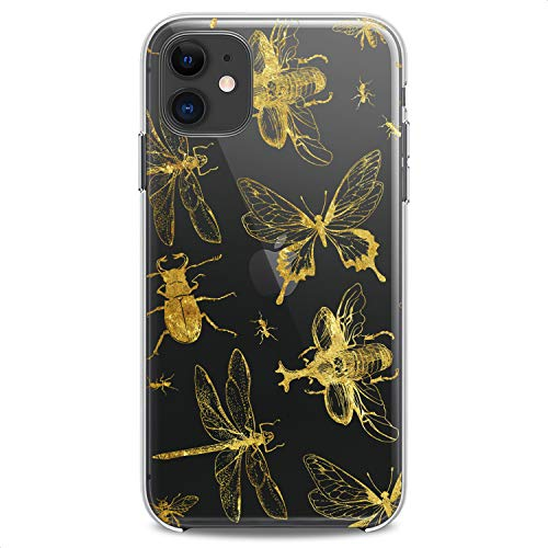 Cavka TPU Case Replacement for Apple iPhone 12 Mini 5G 11 Pro Xs Max X 8 Plus Xr 7 SE Flexible Silicone Print Insect Kawaii ButterflyThemed Kid Clear Phone Girl Slim fit Golden Soft Design Cute Cute