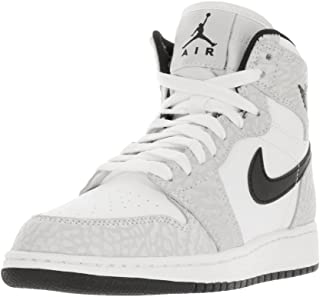0624e7601e8f Nike Jordan Kids Air Jordan 1 Retro Hi Prem BG White Black Pure Platinum  Basketball