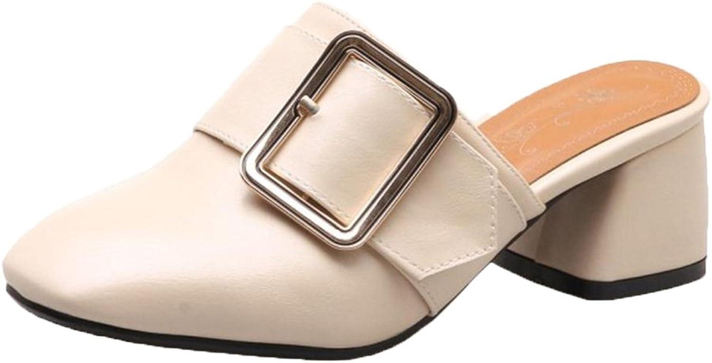 FANIMILA Women Square Toe Mules shoes