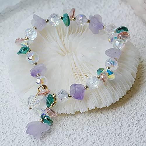 QiuYueShangMao Pulseras de Hilo con Cuentas de Mineral en Bruto de Cristal púrpura Natural Irregular étnico para Mujeres niñas Accesorios de joyería de Moda Pulsera de la Amistad Regalos para Mujeres
