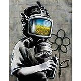 Simple lienzo girasol campo máscara pared arte impresión calle graffiti pintura imprimible decoración del hogar cartel 60x90 cm sin marco