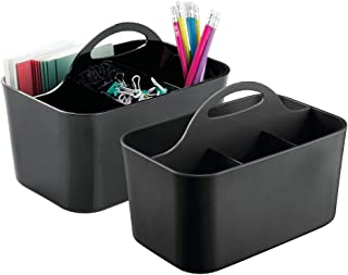 mDesign Small Office Storage Organizer Utility Tote Caddy Holder with Handle for Cabinets, Desks, Workspaces - Holds Desktop Office Supplies, Gel Pens, Pencils, Markers, Staplers - 2 Pack - Black