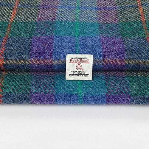 Harris Tweed Autentico Tessuto 100% pura lana a quadri blu, verde, viola, prodotto in Scozia, tartan, merceria, 1 etichetta inclusa. (36 cm x 25 cm)