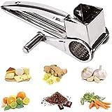 FSJD Rallador de Queso rotatorio de Acero Inoxidable, trituradora de Verduras para Queso parmesano, ajo, nueces, Jengibre, Zanahoria