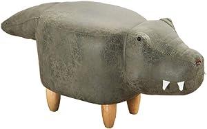 M&M's Taburete de Juguete para niños, cocodrilo Modelo tecnología de Relleno de Esponja Gel Muebles creativos decoración del hogar reposapiés de Madera Maciza sofá Taburete Banco de Zapatos,Bronze