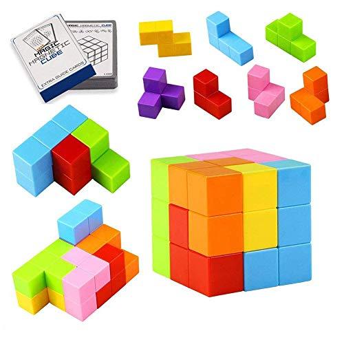 TOPsic Magnetische Bausteine Spielwaren, 7pcs magnetischer Magischer Würfel / magnetische Ziegelspielwaren für Kinder und Erwachsene, groß für Druckentlastung pädagogische Aufbau-IQ-Test