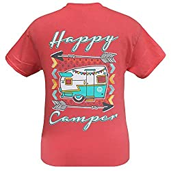 Girlie Girl Originals Happy Camper T-Shirt Coral Silk