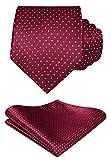 HISDERN Panuelo de corbata roja borgona para hombre Conjunto clasico de corbata y bolsillo de lunares de boda